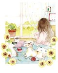 1girl absurdres bed book brown_hair cat chinese_commentary coin_purse commentary_request cup curtains day facing_away flower from_behind graphite_(medium) highres holding holding_pillow indoors knitting_needle long_hair looking_out_window needle open_book original pajamas pen picture_(object) picture_frame pillow plant polka_dot polka_dot_curtains potted_plant saucer solo sunflower traditional_media under_covers watercolor_(medium) window yarn yarn_ball yi_liu_liu