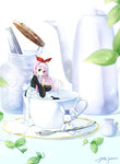 1girl blue_eyes bow creamer_(vessel) cup dated hair_bow highres in_container in_cup kettle long_hair looking_at_viewer minigirl original pink_hair red_bow saucer signature spoon stuffed_animal stuffed_bunny stuffed_toy sugar_cube teacup watch yuitsuki1206