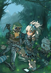1girl aqua_eyes armor barioth_(armor) blush felyne gauntlets long_hair monster_hunter navel nintendo_ds playing_games playstation_portable playstation_vita poogie pout silver_hair sitting sweat tagme zhuxiao517