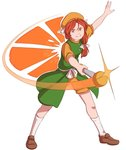 1girl >:) arm_up bow brown_footwear food fruit full_body green_coat hair_bow hair_ribbon hat hat_ribbon highres kneehighs loafers looking_at_viewer mefomefo motion_blur object_namesake orange orange_(touhou) orange_eyes orange_hair orange_headwear orange_shirt orange_shorts outstretched_arm ribbon sash shirt shoes shorts sleeveless_coat smile solo sparkle touhou touhou_(pc-98) tress_ribbon v-shaped_eyebrows wand white_background white_bow white_legwear white_ribbon