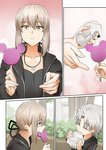 1boy 1girl artoria_pendragon_(all) candy commentary_request eating fate/grand_order fate_(series) food ginhaha hamburger happy lollipop saber_alter silver_hair smile yellow_eyes
