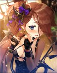 1girl alternate_costume artist_request blue_eyes blush bow breasts brown_hair cleavage clenched_hands demon_tail fingerless_gloves gloves hair_ornament hair_over_one_eye horn horn_ornament long_hair medium_breasts official_art one_eye_covered open_mouth paracelsus_(phantom_of_the_kill) phantom_of_the_kill ponytail tail wing_ornament