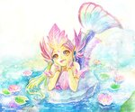 1girl alternate_costume facial_mark flower green_hair green_skin league_of_legends lily_pad long_hair lotus mermaid mizoreame monster_girl nami_(league_of_legends) open_mouth river_spirit_nami solo traditional_media water yellow_eyes