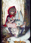 1boy 1girl absurdres animal_ears blue_eyes boots braid brown_hair claws clothed_female_nude_male commentary_request dog_penis dress forest furry hair_between_eyes hand_on_another's_head hetero highres hood imminent_cunnilingus jnt leaf little_red_riding_hood little_red_riding_hood_(grimm) looking_back mushroom nature no_panties nude outdoors penis pussy red_hood signature sitting smile socks spread_legs tail tongue tongue_out tree twin_braids wolf_boy wolf_ears wolf_tail