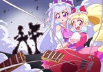 absurdres aisaki_emiru bangs bare_shoulders blunt_bangs bow bowtie commentary_request cure_amour cure_black cure_macherie cure_white dress drill_hair earrings frilled_dress frills futari_wa_precure gloves guitar highres hugtto!_precure instrument jewelry long_hair magical_girl multicolored otokamu precure puffy_short_sleeves puffy_sleeves ruru_amour short_sleeves white_gloves