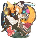 1girl apron bad_id bad_pixiv_id blonde_hair blush book boots braid broom crescent_moon dress hat highres itomugi-kun kirisame_marisa lantern long_hair moon mushroom smile solo star touhou witch_hat wrist_cuffs yellow_eyes