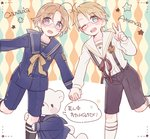 2boys ahoge america_(hetalia) axis_powers_hetalia bear black_legwear blonde_hair blue_eyes canada_(hetalia) character_name child glasses holding_hands kneehighs kumajirou_(hetalia) male_focus multiple_boys one_eye_closed open_mouth sailor saku_anna shorts smile suspenders translation_request v white_legwear younger