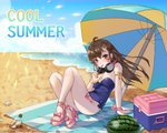 1girl 2018 ahoge arm_support armlet bangs bare_legs bare_shoulders beach blue_bow blue_sky blue_swimsuit body_writing bottle bow bow_footwear breasts brown_eyes brown_hair character_name cloud cup d.va_(overwatch) dated day drink drinking drinking_glass drinking_straw english eyelashes facepaint facial_mark fingernails floating_hair food fruit full_body glint hair_between_eyes hair_ornament hairclip hand_up headphones headphones_around_neck high_heels highres holding holding_drinking_glass ice_block jewelry knees_up legs lemonade letter long_fingernails long_hair looking_at_viewer medium_breasts nail_polish ocean outdoors overwatch pink_bow pink_legwear pink_nails pink_ribbon pinky_out ribbon sand shell sitting sky solo strapless strapless_swimsuit strappy_heels swimsuit tikeworld toeless_legwear toenail_polish toenails toes water watermelon whisker_markings wind wrist_ribbon