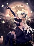 1girl absurdres arm_support arm_up black_gloves black_legwear blonde_hair brown_eyes bug butterfly chain elbow_gloves eyebrows_visible_through_hair fate/grand_order fate_(series) gloves highres insect jeanne_d'arc_(alter)_(fate) jeanne_d'arc_(fate)_(all) long_hair looking_away looking_up moon mute_fanta855 over-kneehighs parted_lips sitting solo sword thighhighs water weapon