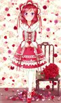 1girl bad_id bad_pixiv_id blush bonnet bouquet chair cross-laced_clothes cross-laced_footwear dress floral_background flower frilled_dress frills full_body highres hiro9779 lace lace-trimmed_dress lolita_fashion long_sleeves looking_at_viewer love_live! love_live!_school_idol_project medium_hair nishikino_maki pantyhose petals pink_flower pink_rose purple_eyes red_dress red_flower red_footwear red_hair red_ribbon red_rose ribbon ribbon-trimmed_dress ribbon_trim rose rose_petals solo standing white_legwear wooden_floor