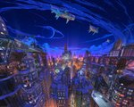 3d aircraft airship arsenixc balcony billboard blue_sky building car commentary english_commentary ground_vehicle highres lamppost moon motor_vehicle night night_sky original outdoors revision road rooftop scenery sky skyscraper watermark window