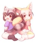 2girls :d animal_ear_fluff animal_ears arm_support ass ass-to-ass bangs black_gloves black_hair black_skirt blonde_hair blouse blush bow bowtie commentary common_raccoon_(kemono_friends) elbow_gloves fang fennec_(kemono_friends) fox_ears fox_tail fur-trimmed_gloves fur_collar fur_trim gloves grey_hair intertwined_tails kemono_friends matsuu_(akiomoi) multicolored multicolored_clothes multicolored_gloves multicolored_hair multicolored_legwear multiple_girls no_shoes open_mouth pantyhose pink_sweater pleated_skirt purple_blouse raccoon_ears raccoon_tail red_eyes short_sleeves simple_background sitting skirt skirt_lift smile sweater tail tail_hug tail_wrap tareme thighhighs wariza white_background white_gloves white_legwear white_skirt yellow_gloves yellow_neckwear