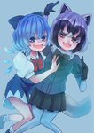 2girls :d absurdres animal_ears arm_around_back arm_up bangs bare_arms bare_legs black_hair blue_eyes blue_hair bodystocking bow bowtie cirno commentary_request common_raccoon_(kemono_friends) crossover dress eyebrows_visible_through_hair eyes_visible_through_hair fang feet_out_of_frame fur_collar gloves grey_hair hair_between_eyes hair_bow hand_up highres ice ice_wings kemono_friends knees_together_feet_apart long_sleeves looking_at_viewer multicolored_hair multiple_girls mutsumi326 open_mouth pantyhose puffy_short_sleeves puffy_sleeves raccoon_ears raccoon_tail red_eyes shoes short_dress short_hair short_over_long_sleeves short_sleeves side-by-side skirt smile sweater tail touhou v-shaped_eyebrows wings