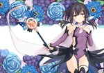 1girl ass_visible_through_thighs black_hair blue_berry blue_flower blue_rose breasts brown_eyes cape commentary_request covered_navel cowboy_shot eyebrows_visible_through_hair fate/kaleid_liner_prisma_illya fate_(series) flower hair_between_eyes hair_ornament hairclip hand_on_own_chest kaleidostick leotard magical_girl magical_sapphire miyu_edelfelt nanananana negative_space purple_leotard rose small_breasts solo thigh_gap thighhighs wand