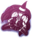 1girl breasts cape chiba_toshirou hat kagari_ayaka large_breasts long_hair looking_at_viewer monochrome sitting skirt solo thighhighs wariza witch_craft_works witch_hat