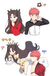 1boy 1girl abs absurdres anklet appleale19 armlet armor asymmetrical_legwear asymmetrical_sleeves bangs black_hair black_ribbon blue_eyes bridal_gauntlets cape crown detached_collar earrings elbow_gloves emiya_shirou fate/grand_order fate/stay_night fate_(series) floating gameplay_mechanics gloves hair_ribbon highres hoop_earrings igote ishtar_(fate/grand_order) japanese_clothes jewelry limited/zero_over long_hair neck_ring orange_hair parted_bangs pelvic_curtain raglan_sleeves red_eyes ribbon sengo_muramasa_(fate) single_elbow_glove single_thighhigh sweater thighhighs tiara toosaka_rin two_side_up weapon yellow_eyes
