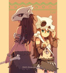 2girls arm_warmers back bandeau beads bone brown_hair cubone dav-19 fang_necklace fangs green_eyes looking_at_viewer looking_to_the_side marowak midriff multiple_girls navel personification pokemon red_eyes sarashi seashell shell skirt skull skull_helmet skull_mask tooth_necklace tribal wristband