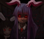 2girls animal_ears artist_request bunny bunny_ears dark glowing glowing_eyes horror_(theme) inaba_tewi long_hair multiple_girls red_eyes reisen_udongein_inaba staring touhou you_gonna_get_raped
