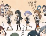 6+girls ahoge akebono_(kantai_collection) arashio_(kantai_collection) asashio_(kantai_collection) black_hair blonde_hair blue_hair blush_stickers broom brown_hair clenched_teeth closed_eyes comic crossed_arms double_bun dress elbow_gloves fan gloves grey_hair hair_over_one_eye hair_over_shoulder hair_ribbon harisen kantai_collection kiyoshimo_(kantai_collection) long_hair long_sleeves michishio_(kantai_collection) multiple_girls ooshio_(kantai_collection) open_mouth otoufu pantyhose pinafore_dress pleated_skirt ponytail purple_hair remodel_(kantai_collection) ribbon rolled_up_newspaper samidare_(kantai_collection) school_uniform serafuku shirt short_hair short_sleeves side_ponytail sidelocks skirt sleeveless sleeveless_shirt smile spray_can suzukaze_(kantai_collection) teeth thighhighs translated twintails ushio_(kantai_collection)