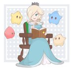 1girl blonde_hair blue_dress blue_eyes book chair chiko_(mario) chocomiru commentary crown dress earrings english_commentary full_body hair_over_one_eye jewelry long_hair long_sleeves mario_(series) open_book open_mouth polka_dot polka_dot_background rocking_chair rosalina sitting smile star star_earrings storybook super_mario_galaxy