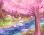 1boy 1girl absurdres bangs black_hair blue_eyes cherry_blossoms commentary couple darling_in_the_franxx dress floating_hair grass green_eyes hetero highres hiro_(darling_in_the_franxx) holding_hands horns humminginker long_hair oni_horns petals pink_hair red_horns river shirt short_hair shorts sleeveless sleeveless_dress sleeveless_shirt tree wading water white_dress white_shirt white_shorts zero_two_(darling_in_the_franxx)