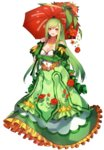 1girl :d blush braid breasts cleavage detached_sleeves dress flower full_body green_hair highres katagiri_hachigou lilligant long_hair looking_at_viewer medium_breasts open_mouth personification pokemon red_eyes rose simple_background smile solo umbrella white_background