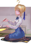 1girl absurdres ahoge artoria_pendragon_(all) black_legwear blonde_hair blue_ribbon blue_skirt braid chopsticks eating fate/stay_night fate_(series) green_eyes hair_ribbon highres looking_at_viewer pantyhose plate ribbon rolua saber short_hair sitting skirt solo wariza
