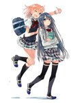 2girls ;d absurdres bag black_hair black_legwear blue_eyes book bow bowtie hand_on_another's_shoulder highres lossy-lossless multiple_girls object_hug official_art one_eye_closed open_mouth plaid plaid_skirt pleated_skirt ponkan_8 school_bag school_uniform shoes shoulder_bag side_bun simple_background skirt smile socks thighhighs uwabaki v vest white_background wristband yahari_ore_no_seishun_lovecome_wa_machigatteiru. yuigahama_yui yukinoshita_yukino