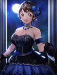 1girl :d apple_brk armband black_dress black_gloves blue_rose breasts brown_hair choker cleavage commentary dress earrings floral_print flower flower_earrings flower_ornament full_moon gloves holding_hands idolmaster idolmaster_cinderella_girls jewelry korean lace large_breasts looking_at_viewer moon moonlight night night_sky oikawa_shizuku open_mouth portrait pov pov_hands rose short_hair sky sleeveless smile solo solo_focus star_(sky) starry_sky white_gloves yellow_eyes