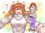 1girl :d ahoge animal_slippers bear_slippers blush breasts closed_eyes commentary_request idolmaster idolmaster_cinderella_girls incoming_hug medium_breasts moroboshi_kirari multiple_views open_mouth orange_eyes orange_hair outstretched_arms pantyhose purple_legwear ribbed_sweater shorts sketch sleeves_past_wrists slippers smile sweater takanashi_ringo translation_request turtleneck turtleneck_sweater twintails wavy_hair white_sweater