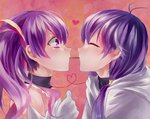 2girls aisha_(elsword) antenna_hair bare_shoulders blush commentary dimension_witch_(elsword) dual_persona elemental_master_(elsword) elsword face-to-face facing_another food gloves heart heart_of_string highres looking_at_another mameka_(jenny890311) multiple_girls pocky pocky_kiss profile purple_eyes purple_hair selfcest shared_food twintails white_gloves yuri