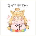 1girl :3 :d animal animal_ears animal_on_head blonde_hair blush cat_ears chibi closed_eyes commentary_request dog dog_on_head facing_viewer foreign_blue g41_(girls_frontline) girls_frontline hair_ornament hands_up in_container korean korean_commentary long_hair on_head open_mouth pouch smile solo translation_request twintails twitter_username very_long_hair white_background