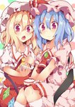 2girls ascot bat_wings blonde_hair blue_hair bowl brooch chopsticks dress fang flandre_scarlet food highres jewelry kan_lee mob_cap multiple_girls open_mouth pink_dress pink_eyes puffy_short_sleeves puffy_sleeves red_dress remilia_scarlet sash short_sleeves siblings sisters sitting smile touhou v_arms wings