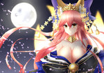 animal_ears bare_shoulders bell bow breasts cleavage collarbone commentary_request fate/grand_order fate_(series) feather_quilt fox_ears fox_tail full_moon hair_bow hair_ribbon japanese_clothes large_breasts long_hair looking_at_viewer moon multiple_tails off_shoulder pink_hair ribbon tail tamamo_(fate)_(all) tamamo_no_mae_(fate) tears very_long_hair yellow_eyes