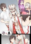 +++ 2boys 3girls :d ^_^ baby brown_hair closed_eyes comic commentary crown dress dress_of_heaven faceless faceless_male fate/grand_order fate_(series) frown fujimaru_ritsuka_(male) ginhaha holding_baby irisviel_von_einzbern jeanne_d'arc_(alter)_(fate) jeanne_d'arc_(fate)_(all) long_hair minamoto_no_raikou_(fate/grand_order) multiple_boys multiple_girls open_mouth purple_hair red_eyes silent_comic silver_hair smile