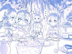 3girls ahoge alice_in_wonderland animal_ears assassin_of_black blush braid bunny bunny_ears fate/apocrypha fate/extra fate/extra_ccc fate/grand_order fate_(series) food hat headpiece jeanne_alter jeanne_alter_(santa_lily)_(fate) long_hair monochrome multiple_girls navel nursery_rhyme_(fate/extra) open_mouth ruler_(fate/apocrypha) scar short_hair twin_braids white_rabbit yasuyuki
