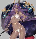 1girl animal_ears bangs bare_shoulders belly_chain blunt_bangs bracelet breasts chain commentary_request dark_skin earrings egyptian_clothes facepaint facial_mark fate/grand_order fate_(series) hair_between_eyes hair_tubes hairband highres hip_focus hoop_earrings jackal_ears jewelry long_hair looking_at_viewer low-tied_long_hair navel nitocris_(fate/grand_order) open_mouth purple_eyes purple_hair sidelocks sino42 small_breasts space staff star_(sky) swimsuit thighs usekh_collar very_long_hair white_swimsuit