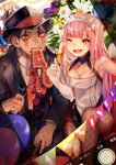 1girl 2boys ;o alcohol anniversary black_headwear black_neckwear black_suit blue_hair breasts brown_legwear champagne champagne_flute cigar cleavage cu_chulainn_alter_(fate/grand_order) cup drinking_glass earrings eating elbow_gloves facial_mark fate/grand_order fate_(series) fedora fionn_mac_cumhaill_(fate/grand_order) fishnet_legwear fishnets flower food formal gloves hair_over_shoulder hat highres holding holding_cup jewelry lancer long_hair looking_at_viewer meat medb_(fate)_(all) medb_(fate/grand_order) medium_breasts motoaki multiple_boys necktie one_eye_closed open_mouth pantyhose pink_hair ponytail red_eyes red_neckwear suit tattoo teeth white_gloves yellow_eyes