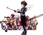 4girls 6+boys alternate_costume aqua_(kingdom_hearts) axel_(kingdom_hearts) beamed_semiquavers clarinet colored conductor formal instrument kairi_(kingdom_hearts) kingdom_hearts multiple_boys multiple_girls music musical_note namine nomura_tetsuya official_art playing_instrument quaver riku roxas saxophone sora_(kingdom_hearts) spiked_hair square_enix terra_(kingdom_hearts) transparent_background treble_clef trumpet ventus xion_(kingdom_hearts)