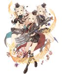 3girls :d :o animal_ears basket blonde_hair cake candy cracker cupcake food fork full_body hat instrument instrument_request ji_no kneehighs looking_at_viewer mary_janes midriff multiple_girls musical_note navel official_art open_mouth pig_ears plump pouch purple_eyes shoes sinoalice skinny skirt smile sock_garters three_little_pigs_(sinoalice) top_hat transparent_background