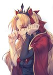 1girl black_shirt blonde_hair bow cape crown crying crying_with_eyes_open earrings ereshkigal_(fate/grand_order) eyebrows_visible_through_hair eyes_visible_through_hair fate/grand_order fate_(series) hair_bow half-closed_eyes highres jewelry kotoribako long_hair long_sleeves red_bow red_cape red_eyes shirt simple_background single_sleeve sketch solo tears toosaka_rin upper_body white_background wiping_tears