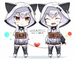 2girls :d ^_^ animal_ears animal_hood artist_name azuma_lim azuma_lim_channel bangs black_legwear black_skirt blush_stickers cat_ears cat_hood chibi closed_eyes closed_mouth dual_persona ear_piercing eyebrows_visible_through_hair hair_between_eyes heart hood hood_up long_hair long_sleeves looking_at_another looking_to_the_side mars_symbol multiple_girls no_shoes open_mouth piercing pleated_skirt puffy_long_sleeves puffy_sleeves red_string sign sign_around_neck silver_hair skirt sleeves_past_wrists smile sparkle stirrup_legwear string tanyatonya thighhighs venus_symbol very_long_hair virtual_youtuber white_background white_hoodie