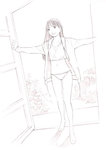 1girl long_hair monochrome original panties sketch solo traditional_media underwear yoshitomi_akihito