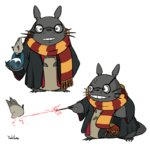 artist_name cosplay glasses grin harry_james_potter harry_james_potter_(cosplay) harry_potter hogwarts_school_uniform magic no_humans parody scar scarf simple_background smile standing striped striped_scarf teeth tonari_no_totoro totoro wand whiskers white_background yoshitura