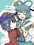 2girls blue_dress blue_hair blush closed_eyes dress grey_eyes hair_ornament hair_stick hand_on_another's_head hat itomugi-kun kaku_seiga miyako_yoshika multiple_girls ofuda open_mouth outstretched_arms star touhou translation_request zombie_pose