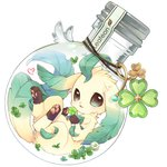 96mame bottle character_name clover commentary_request four-leaf_clover gen_4_pokemon green_eyes heart highres in_bottle in_container leafeon looking_at_viewer no_humans open_mouth pokemon pokemon_(creature) simple_background solo white_background