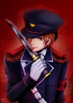 1boy 2013 absurdres armband belt brown_hair dated eyebrows_visible_through_hair gintama gloves hat hat_over_one_eye heavenlove highres holding holding_sword holding_weapon licking licking_weapon looking_at_viewer military military_hat military_uniform okita_sougo red_background red_eyes signature smile solo sword tongue tongue_out uniform upper_body weapon white_gloves