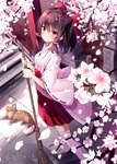 1girl alternate_costume bangs blush bow branch breasts broom brown_hair cat cherry_blossoms commentary eyebrows_visible_through_hair feet_out_of_frame from_above hair_bow hair_tubes hakama_skirt hakurei_reimu highres holding holding_broom hyurasan japanese_clothes kimono long_sleeves looking_at_viewer miko outdoors petals red_bow red_eyes red_skirt ribbon-trimmed_sleeves ribbon_trim short_hair sidelocks skirt small_breasts solo standing thighhighs touhou translated white_kimono white_legwear wide_sleeves zettai_ryouiki
