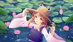 1girl adjusting_clothes adjusting_hat blonde_hair commentary_request flower frog frog_print hair_ribbon hat high_collar lily_pad long_sleeves looking_at_viewer lotus moriya_suwako partially_submerged pond ribbon sidelocks skirt skirt_set smile solo tongue tongue_out touhou tsujimori_nanaki upper_body wide_sleeves yellow_eyes