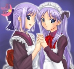 2girls alternate_costume blue_eyes cosplay crossover enmaided hiiragi_kagami hiiragi_tsukasa hisui hisui_(cosplay) kohaku kohaku_(cosplay) long_hair lucky_star maid multiple_girls parody purple_hair siblings sisters tsukihime twins yuki_mashiro